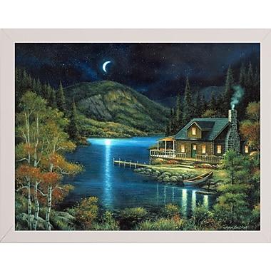 Loon Peak 'Moonlit Cabin' Graphic Art Print; White Wood Medium Framed Paper