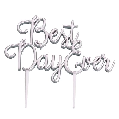 Lillian Rose Best Day Ever Wedding Cake Topper; Silver