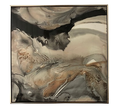 Ivy Bronx 'Black and Gold Marble High Gloss' Framed Print on Canvas