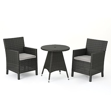 Ivy Bronx Araujo Outdoor Wicker 3 Piece Dining Set w/ Cushions