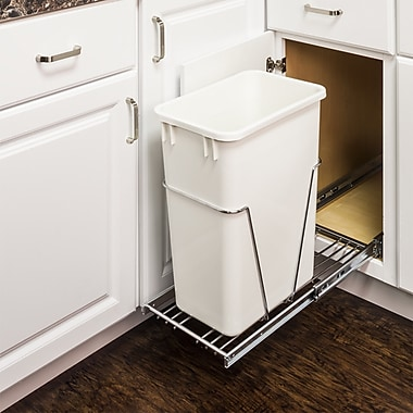 Hardware Resources Steel Open Pull Out/Under Counter Trash Can; Chrome