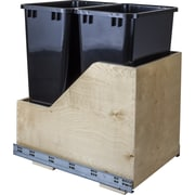 Hardware Resources Double Solid Wood 12.5 Gallon Open Pull Out/Under Counter Trash Can; Black