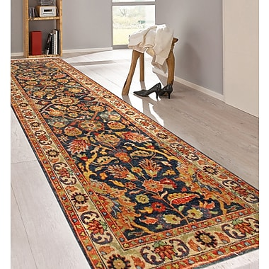 Pasargad Tabriz Hand-Knotted Wool Navy/Ivory Area Rug