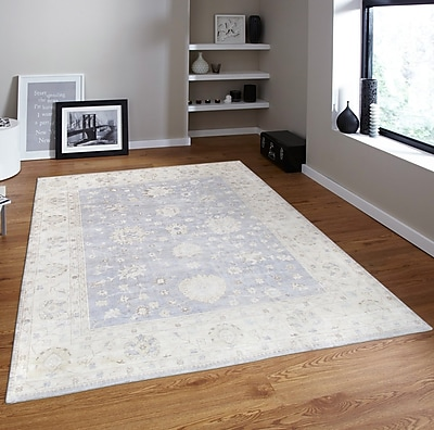Pasargad Oushak Hand-Knotted Wool Gray/Ivory Area Rug