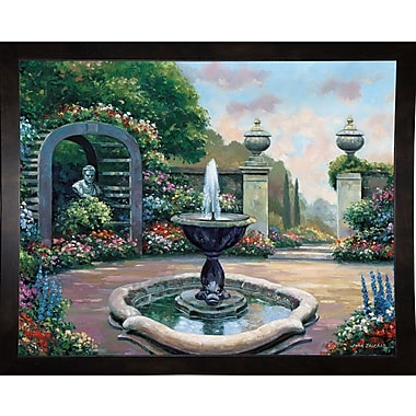 Astoria Grand 'Renaissance Garden' Graphic Art Print; Black Wood Medium Framed Paper