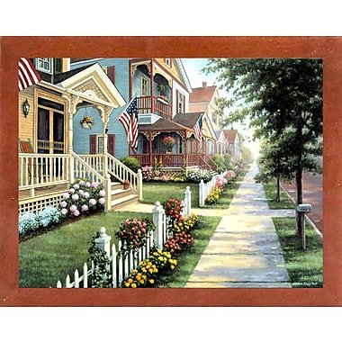 August Grove 'Country Homes' Graphic Art Print; Canadian Walnut Wood Medium Framed Paper