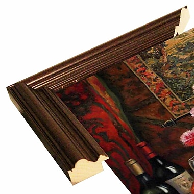 Astoria Grand 'Wine And Floral 4' Graphic Art Print; Cherry Wood Grande Framed Paper