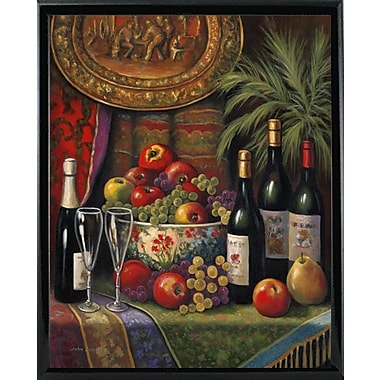 Astoria Grand 'Wine And Floral 1' Graphic Art Print; Shiny Black Metal Framed