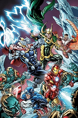 iCanvas 'Avengers Assemble Battle w/ Loki' by Marvel Comics Graphic Art on Wrapped Canvas
