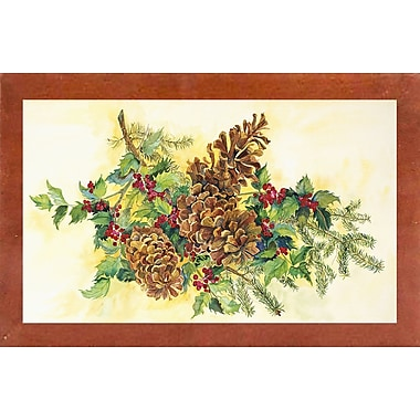 Loon Peak 'Holly And Pine Cones' Print; Canadian Walnut Wood Medium Framed Paper