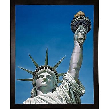 Red Barrel Studio 'Statue Of Liberty' Graphic Art Print; Black Wood Medium Framed Paper