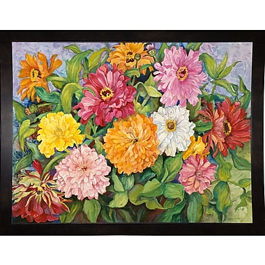 Red Barrel Studio 'Zinnias' Print; Black Wood Medium Framed Paper