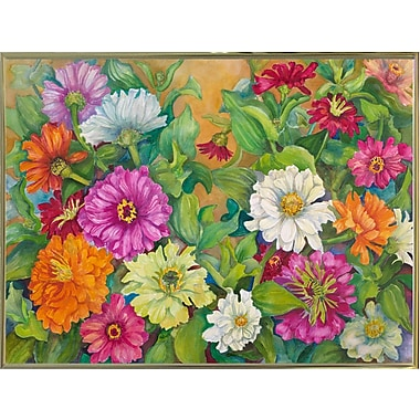 Red Barrel Studio 'Zinnias Palette Of Color' Print; Gold Metal Framed