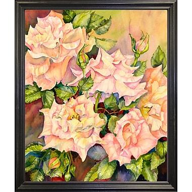 Red Barrel Studio 'Florida Roses' Print; Black Wood Grande Framed Paper