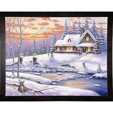 Loon Peak 'Winter Retreat' Graphic Art Print; Cafe Espresso Wood Framed Paper