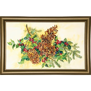 Loon Peak 'Holly And Pine Cones' Print; Bistro Gold Framed Paper
