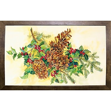 Loon Peak 'Holly And Pine Cones' Print; Cafe Mocha Framed Paper