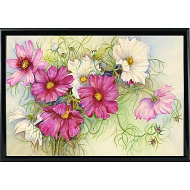 Red Barrel Studio 'Pink and White Cosmos' Print; Shiny Black Metal Framed