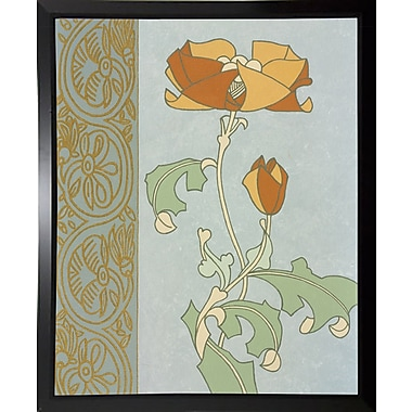 Winston Porter 'Tan Tulip w/ Left Border' Graphic Art Print; Black Plastic Framed Paper