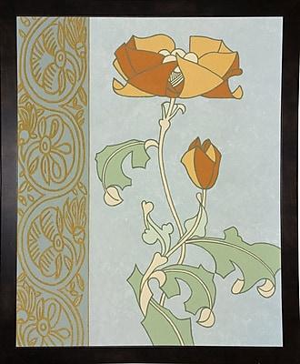 Winston Porter 'Tan Tulip w/ Left Border' Graphic Art Print; Black Wood Medium Framed Paper