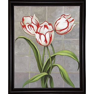 Winston Porter 'Red-Striped Tulips' Print; Bistro Expresso Framed Paper
