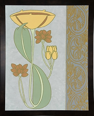 Winston Porter 'Tan Tulip w/ Right Border' Graphic Art Print; Black Wood Medium Framed Paper