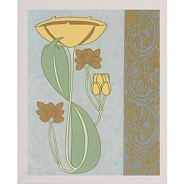 Winston Porter 'Tan Tulip w/ Right Border' Graphic Art Print; White Wood Medium Framed Paper