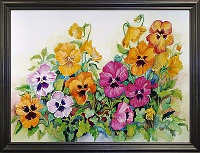 Winston Porter 'Amber Pansies' Print; Black Wood Grande Framed Paper