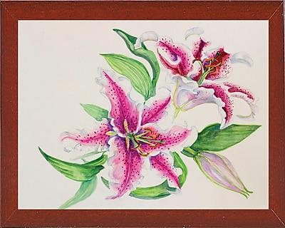 Winston Porter 'A Study Of Lilies' Print; Red Mahogany Wood Medium Framed Paper