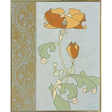 Winston Porter 'Tan Tulip w/ Left Border' Graphic Art Print; Gold Metal Framed Paper