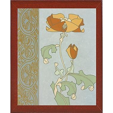 Winston Porter 'Tan Tulip w/ Left Border' Graphic Art Print; Red Mahogany Wood Medium Framed Paper