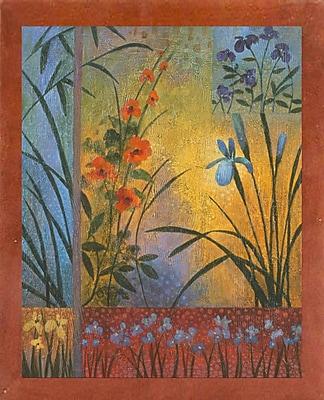 Winston Porter 'Floral Symphony 1' Graphic Art Print; Canadian Walnut Wood Medium Framed Paper