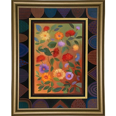 Winston Porter 'Art Deco Bordered Daisies' Graphic Art Print; Bistro Gold Framed Paper
