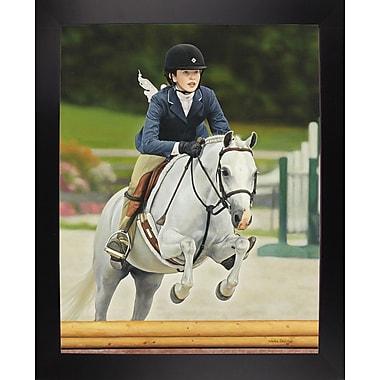 Charlton Home 'Horse Rider' Graphic Art Print; Black Wood Large Framed Paper