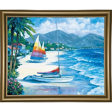Bay Isle Home 'Tropical Breezes' Graphic Art Print; Bistro Gold Framed Paper