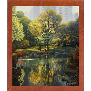 Charlton Home 'Reflection Of The Park' Graphic Art Print; Canadian Walnut Wood Medium Framed Paper