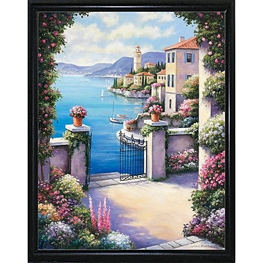 Fleur De Lis Living 'Mediterranian Patio' Graphic Art Print; Flat Back Metal Framed