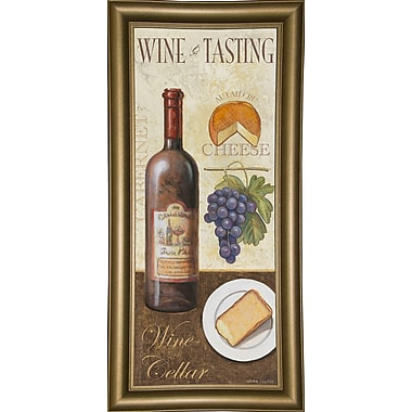 Fleur De Lis Living 'Wine And Cheese 1' Graphic Art Print; Bistro Gold Framed Paper