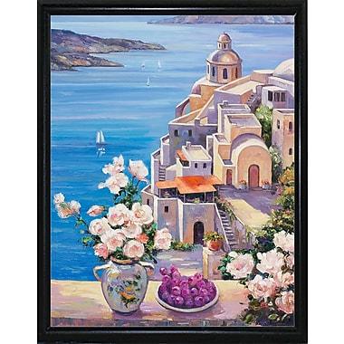 Fleur De Lis Living 'Mediterranian Roses' Graphic Art Print; Flat Back Metal Framed