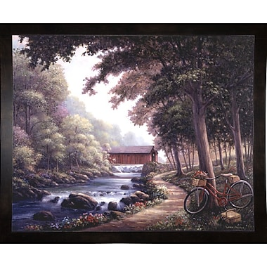 Loon Peak 'The Covered Bridge' Graphic Art Print; Black Wood Medium Framed Paper