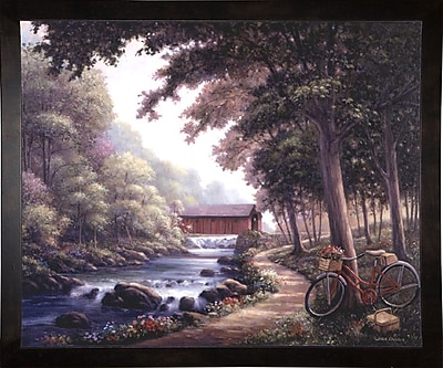 Loon Peak 'The Covered Bridge' Graphic Art Print; Cafe Espresso Wood Framed Paper