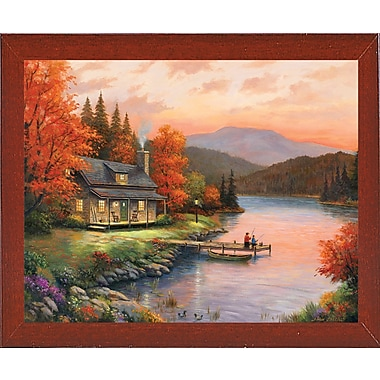 Loon Peak 'Together at Dusk' Graphic Art Print; Red Mahogany Wood Medium Framed Paper