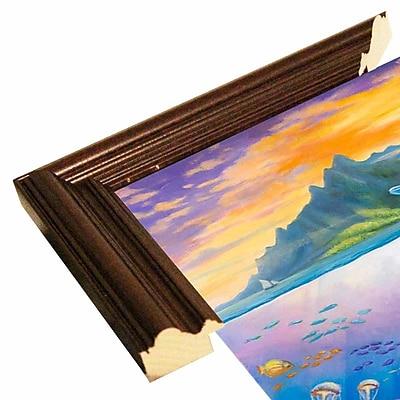 Zoomie Kids 'Paradise' Graphic Art Print; Cherry Wood Grande Framed Paper