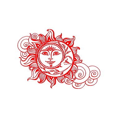 Decal House Sun and Crescent Moon Wall Decal; Red
