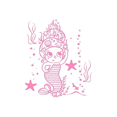 Decal House Cartoon Baby Mermaid Wall Decal; Soft Pink