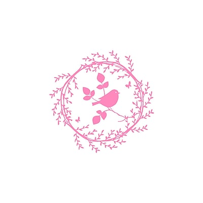Decal House Bird on the Branch Wall Decal; Soft Pink