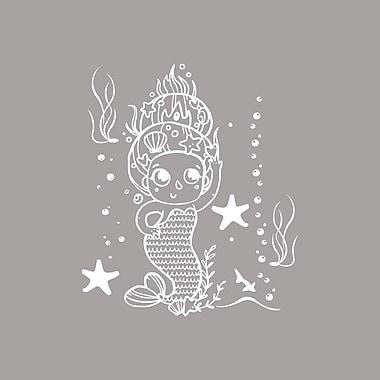 Decal House Cartoon Baby Mermaid Wall Decal; White