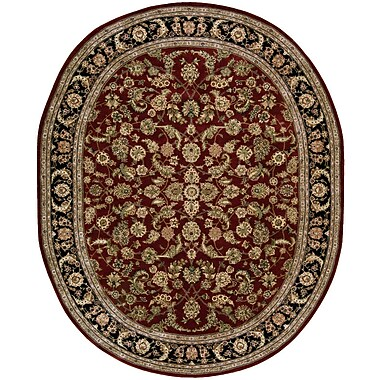 Darby Home Co Ellerswick Hand Woven Wool Red/Green Indoor Area Rug; Oval 7'6'' x 9'6''
