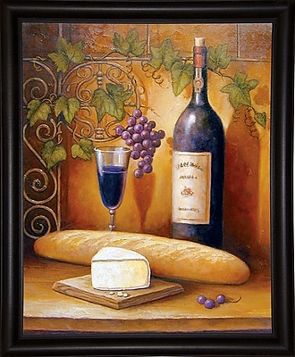 Fleur De Lis Living 'Wine And Cheese B' Graphic Art Print; Bistro Expresso Framed Paper