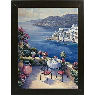Fleur De Lis Living 'Aegean Vista' Graphic Art Print; Brazilian Walnut Wood Medium Framed Paper
